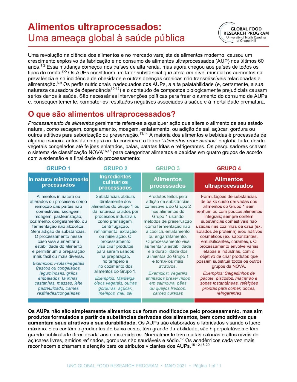 Alimentos ultraprocessados: Uma ameaça global à saúde pública